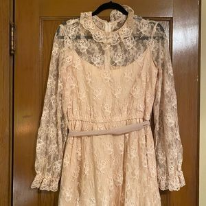 Vintage peachy cream lace prairie dress